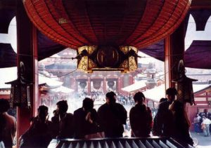 Worshippers lighting incense at the oldest buddhist temple in Japan.